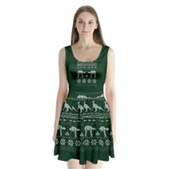 Holiday Party Attire Ugly Christmas Green Background Split Back Mini Dress