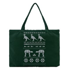 Holiday Party Attire Ugly Christmas Green Background Medium Tote Bag