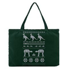 Holiday Party Attire Ugly Christmas Green Background Medium Zipper Tote Bag