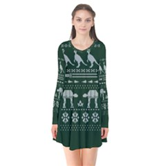 Holiday Party Attire Ugly Christmas Green Background Flare Dress