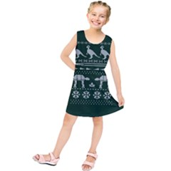 Holiday Party Attire Ugly Christmas Green Background Kids  Tunic Dress