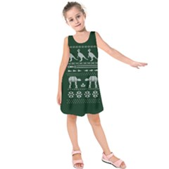 Holiday Party Attire Ugly Christmas Green Background Kids  Sleeveless Dress