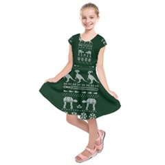 Holiday Party Attire Ugly Christmas Green Background Kids  Short Sleeve Dress