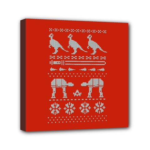 Holiday Party Attire Ugly Christmas Red Background Mini Canvas 6  x 6