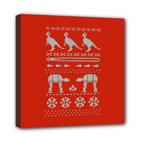 Holiday Party Attire Ugly Christmas Red Background Mini Canvas 8  x 8