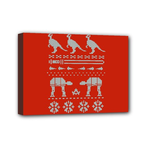 Holiday Party Attire Ugly Christmas Red Background Mini Canvas 7  x 5