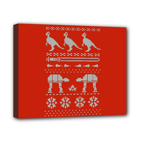 Holiday Party Attire Ugly Christmas Red Background Canvas 10  X 8