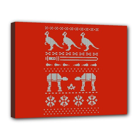 Holiday Party Attire Ugly Christmas Red Background Canvas 14  x 11