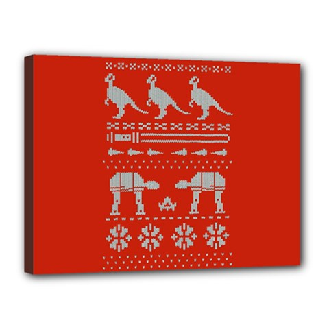 Holiday Party Attire Ugly Christmas Red Background Canvas 16  x 12