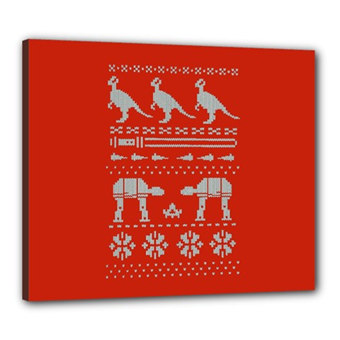 Holiday Party Attire Ugly Christmas Red Background Canvas 24  x 20