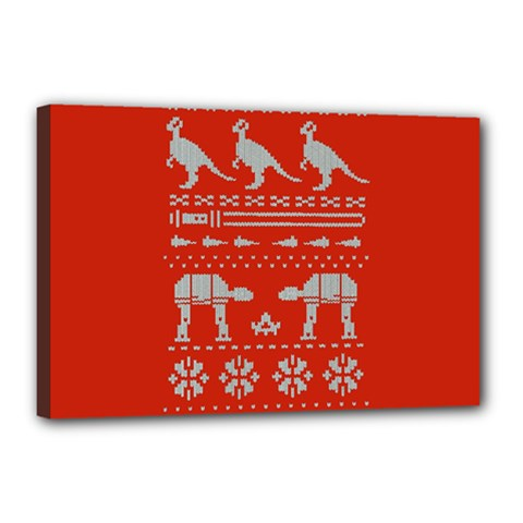 Holiday Party Attire Ugly Christmas Red Background Canvas 18  x 12