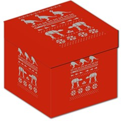Holiday Party Attire Ugly Christmas Red Background Storage Stool 12