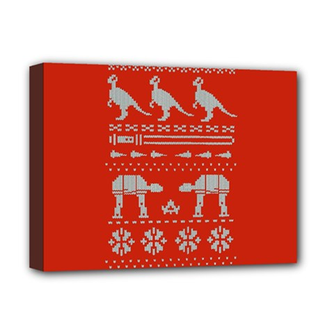 Holiday Party Attire Ugly Christmas Red Background Deluxe Canvas 16  x 12