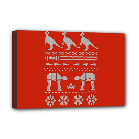 Holiday Party Attire Ugly Christmas Red Background Deluxe Canvas 18  x 12