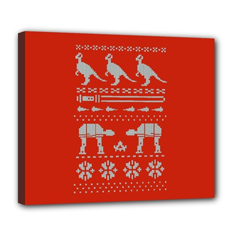 Holiday Party Attire Ugly Christmas Red Background Deluxe Canvas 24  x 20