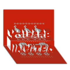 Holiday Party Attire Ugly Christmas Red Background You Are Invited 3d Greeting Card (7x5)