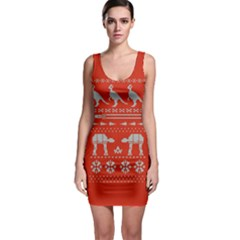 Holiday Party Attire Ugly Christmas Red Background Sleeveless Bodycon Dress