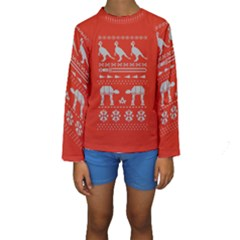 Holiday Party Attire Ugly Christmas Red Background Kids  Long Sleeve Swimwear