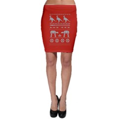 Holiday Party Attire Ugly Christmas Red Background Bodycon Skirt