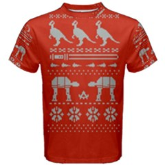 Holiday Party Attire Ugly Christmas Red Background Men s Cotton Tee