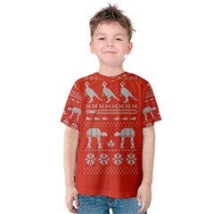 Holiday Party Attire Ugly Christmas Red Background Kids  Cotton Tee