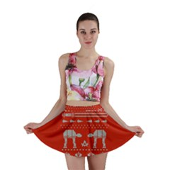 Holiday Party Attire Ugly Christmas Red Background Mini Skirt