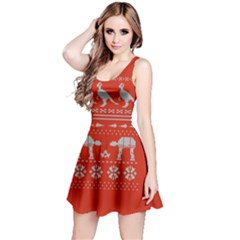 Holiday Party Attire Ugly Christmas Red Background Reversible Sleeveless Dress