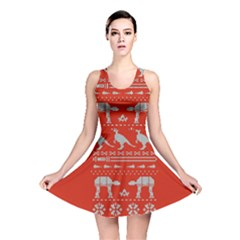 Holiday Party Attire Ugly Christmas Red Background Reversible Skater Dress