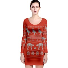 Holiday Party Attire Ugly Christmas Red Background Long Sleeve Bodycon Dress