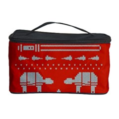Holiday Party Attire Ugly Christmas Red Background Cosmetic Storage Case