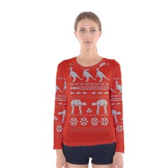 Holiday Party Attire Ugly Christmas Red Background Women s Long Sleeve Tee