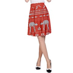 Holiday Party Attire Ugly Christmas Red Background A-Line Skirt