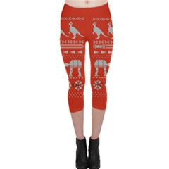 Holiday Party Attire Ugly Christmas Red Background Capri Leggings