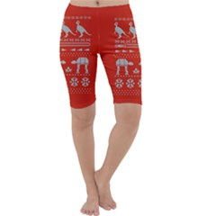 Holiday Party Attire Ugly Christmas Red Background Cropped Leggings