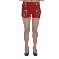 Holiday Party Attire Ugly Christmas Red Background Skinny Shorts