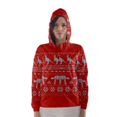Holiday Party Attire Ugly Christmas Red Background Hooded Wind Breaker (Women)