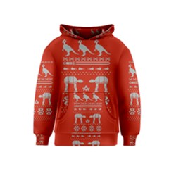 Holiday Party Attire Ugly Christmas Red Background Kids  Pullover Hoodie