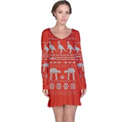 Holiday Party Attire Ugly Christmas Red Background Long Sleeve Nightdress
