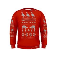 Holiday Party Attire Ugly Christmas Red Background Kids  Sweatshirt