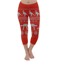 Holiday Party Attire Ugly Christmas Red Background Capri Winter Leggings