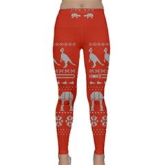Holiday Party Attire Ugly Christmas Red Background Classic Yoga Leggings
