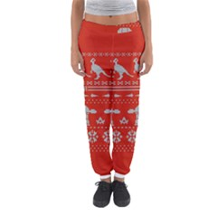 Holiday Party Attire Ugly Christmas Red Background Women s Jogger Sweatpants