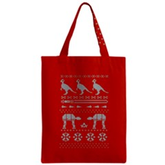 Holiday Party Attire Ugly Christmas Red Background Zipper Classic Tote Bag