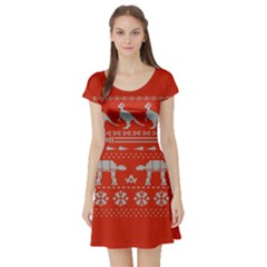 Holiday Party Attire Ugly Christmas Red Background Short Sleeve Skater Dress