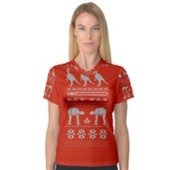 Holiday Party Attire Ugly Christmas Red Background Women s V-Neck Sport Mesh Tee