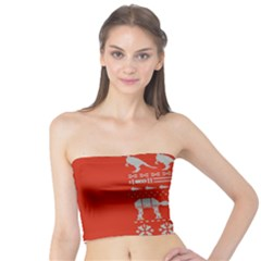 Holiday Party Attire Ugly Christmas Red Background Tube Top