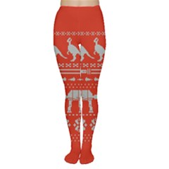 Holiday Party Attire Ugly Christmas Red Background Women s Tights