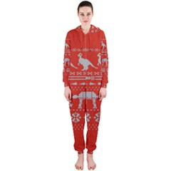 Holiday Party Attire Ugly Christmas Red Background Hooded Jumpsuit (ladies)