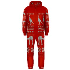 Holiday Party Attire Ugly Christmas Red Background Hooded Jumpsuit (Men)