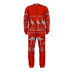 Holiday Party Attire Ugly Christmas Red Background Onepiece Jumpsuit (kids)